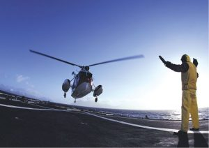When the helicopter lands it is fastened to the marine rolled grid, keeping it secure in a deep sea environment.
